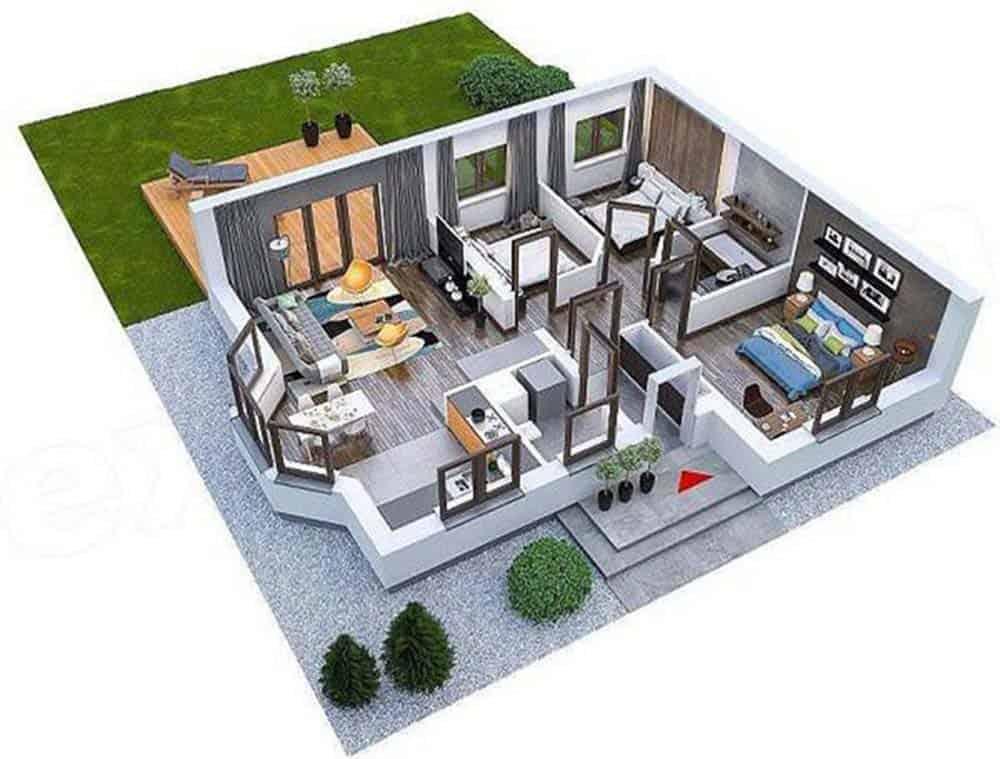 Mặt bằng công năng mẫu nhà 3 phòng ngủ