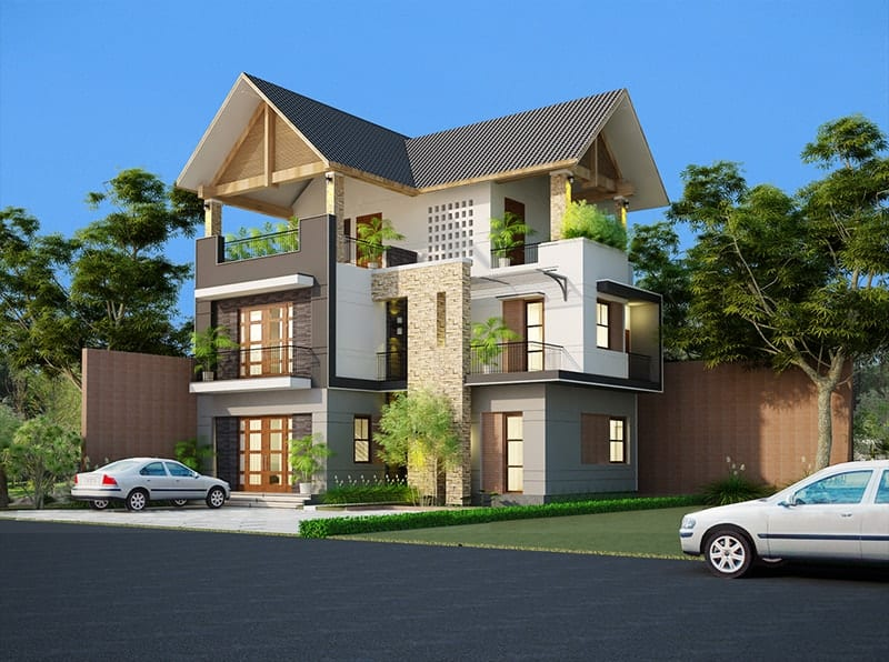 Mẫu nhà l mái thái 3 tầng
