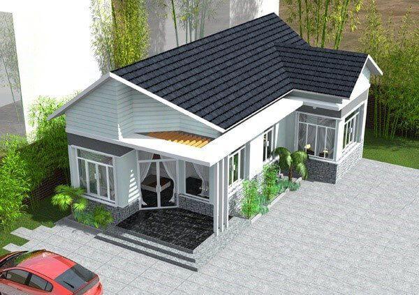 Thiết kế nhà mái thái chữ L đẹp xuất sắc