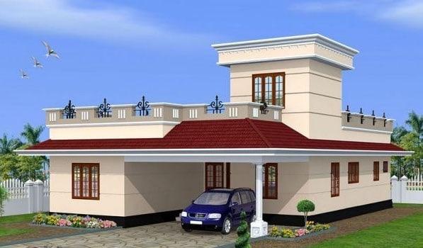 Nhà mái thái hình chữ l 2 tầng