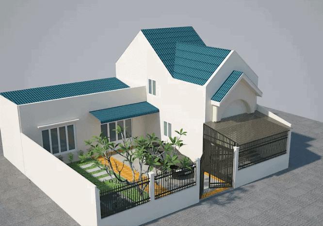 Mẫu nhà mái tháicó lửng này kiến trúc đơn giản