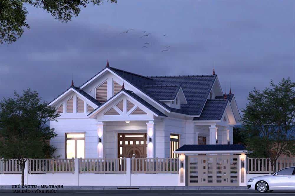 Thiết kế siêu hiện đại của mẫu nhà mái thái có gác lửng