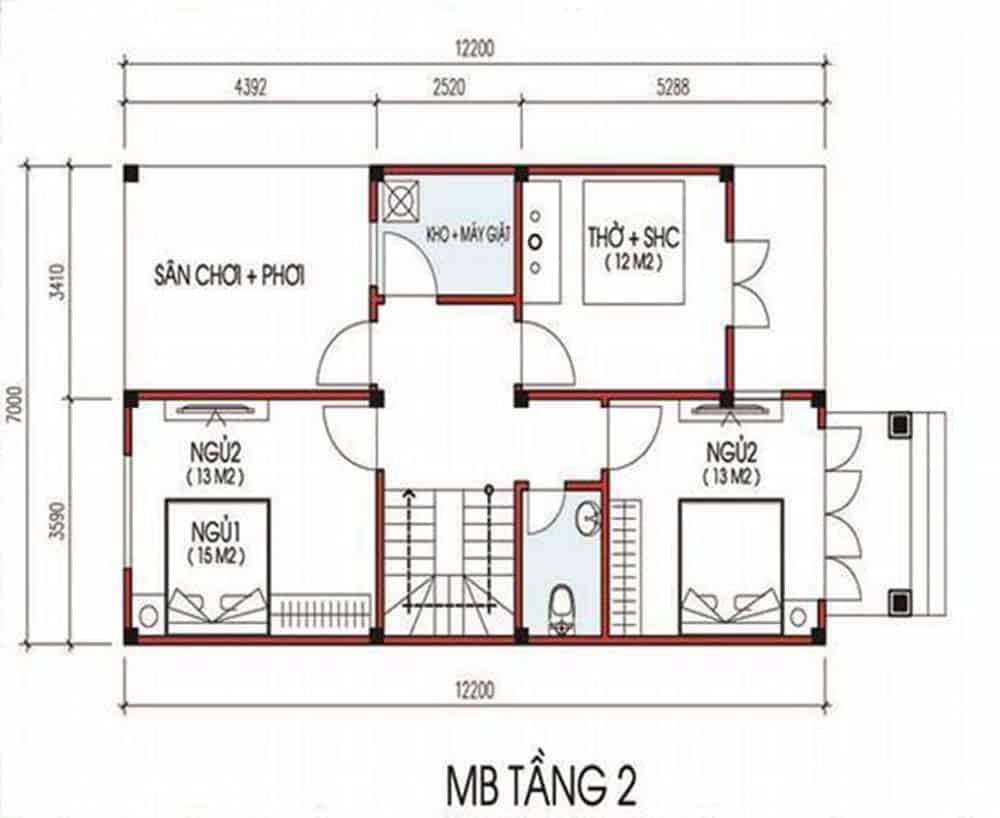 Nhà Ống 2 Tầng 3 Phòng Ngủ 1 Phòng