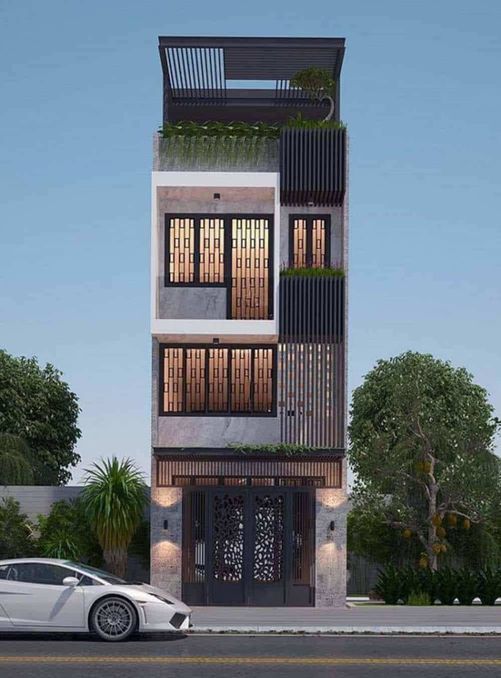 Thiết kế nhà hiện đại có 3 tầng 1 tum