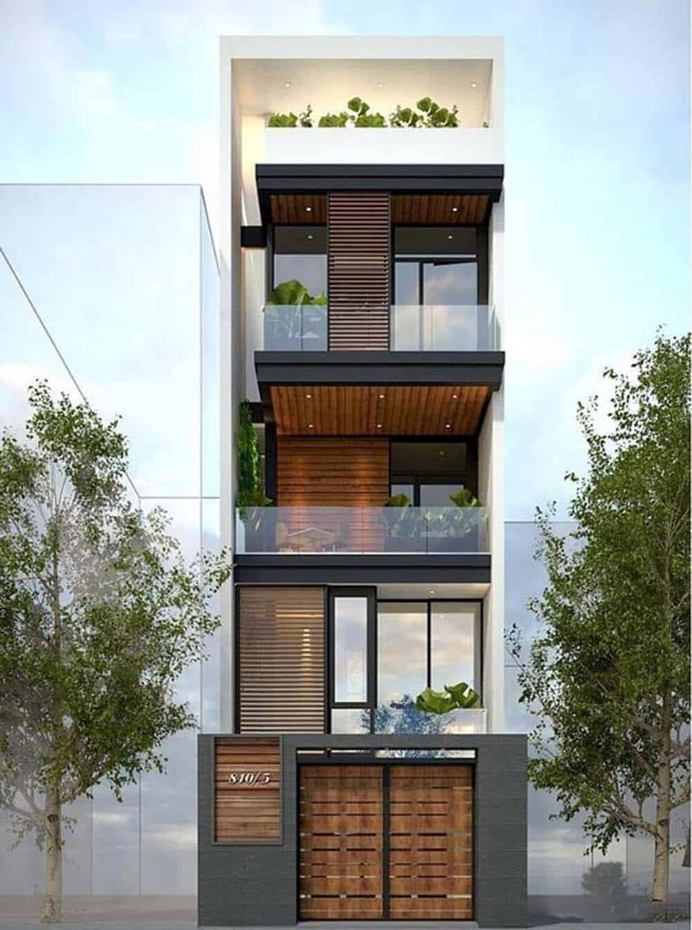 Thiết kế nhà 4 tầng với ban công rộng