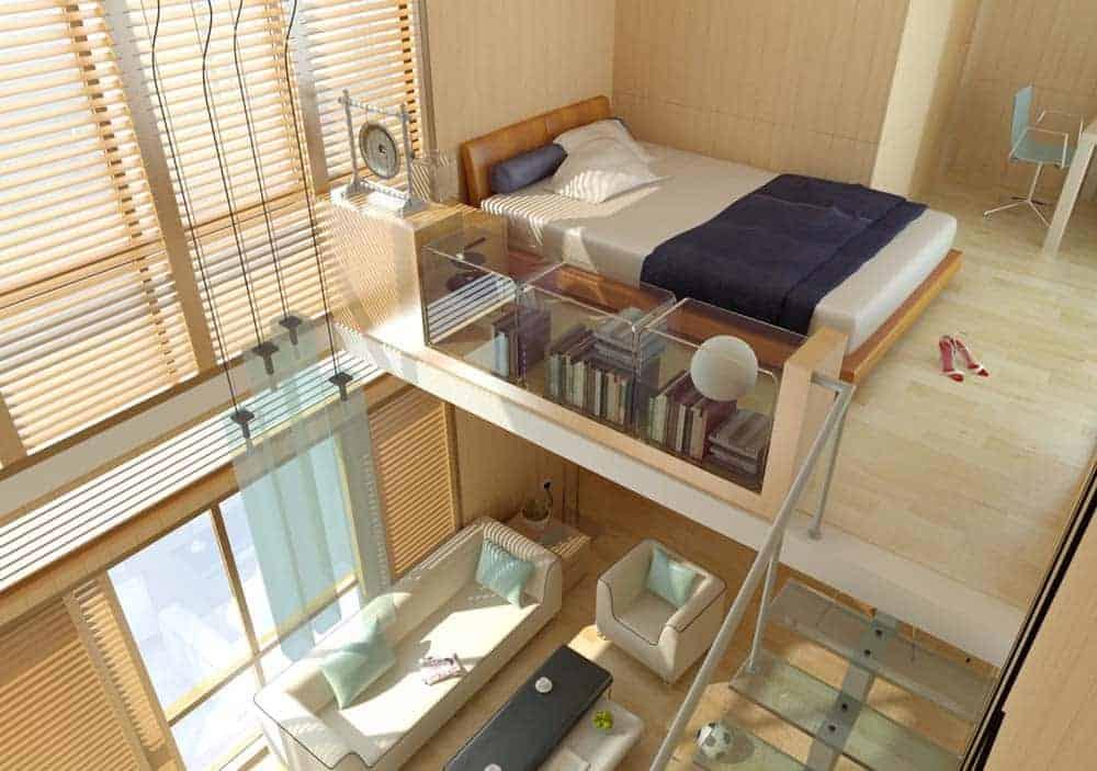 Nhà ống 1 tầng có gác xép làm phòng ngủ