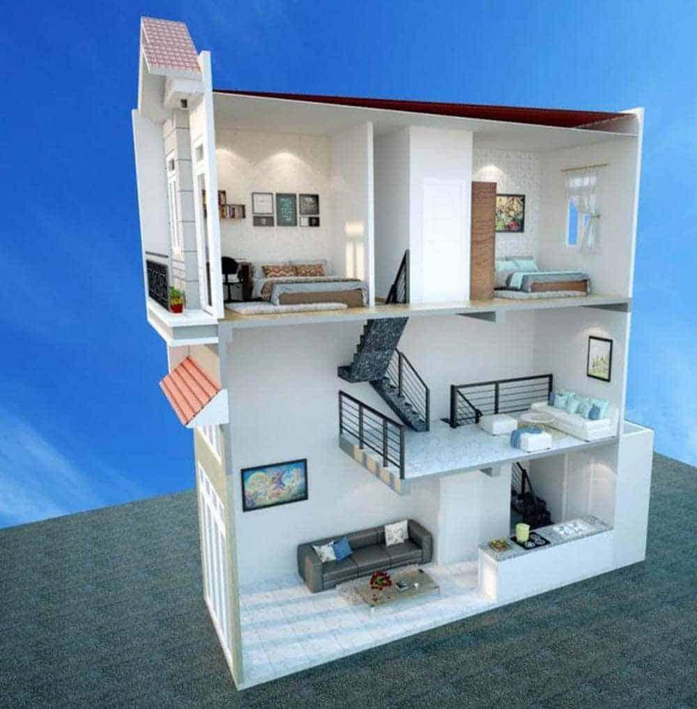 Thiết kế nhà ống 3 phòng ngủ 2 tầng
