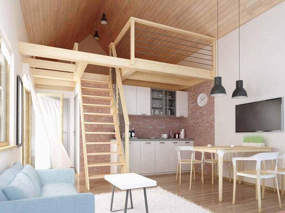 Nhà mái thái có gác lửng để làm phòng ngủ