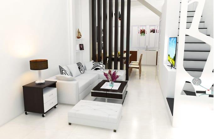 thiết kế phòng khách sử dụng gam trắng sang trọng