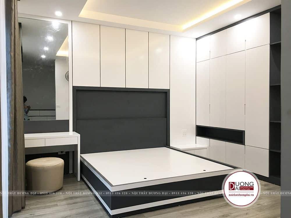 Thi công phòng ngủ chung cư bằng chất liệu gỗ công nghiệp