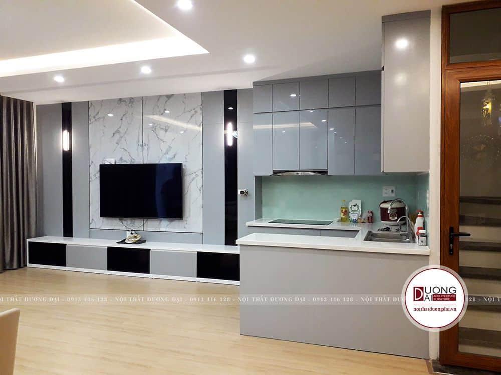 Phòng bếp nhỏ gọn được thiết kế tiện nghi và đa năng