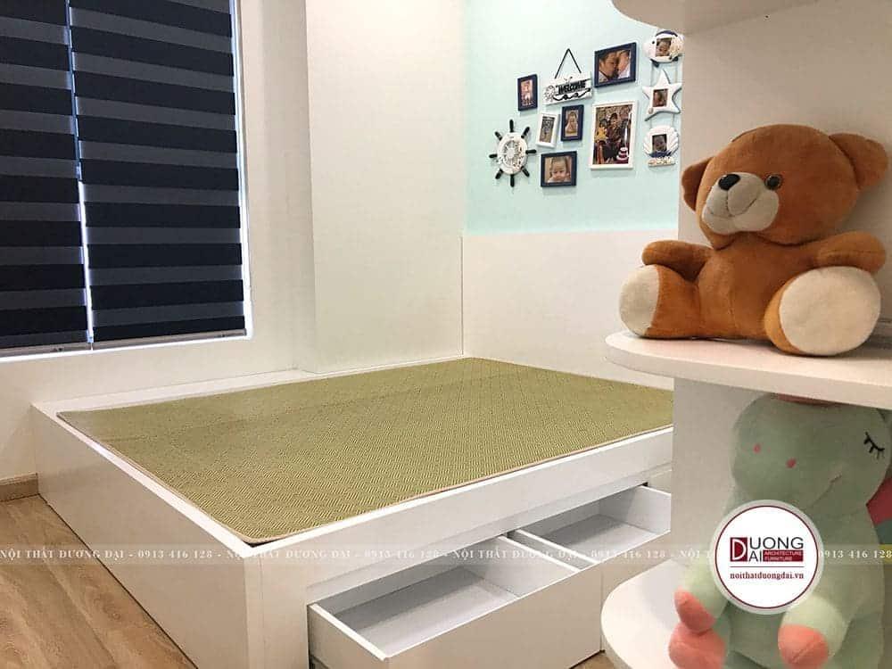 Phòng ngủ cho bé thiết kế nhẹ nhàng, đơn giản để sau này gia chủ có thể thay đổi và cải tạo.