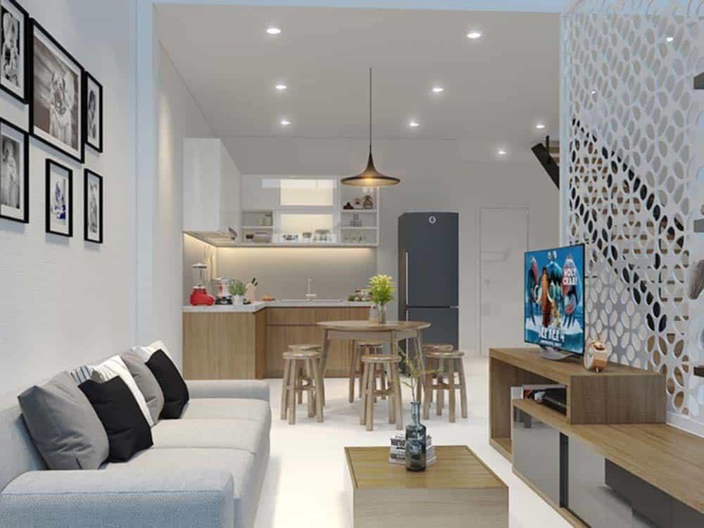 Phòng bếp tiện nghi của thiết kế nhà 2 tầng