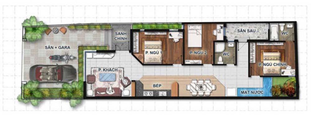 Mặt bằng thiết kế nhà ống 1 tầng 3 phòng ngủ