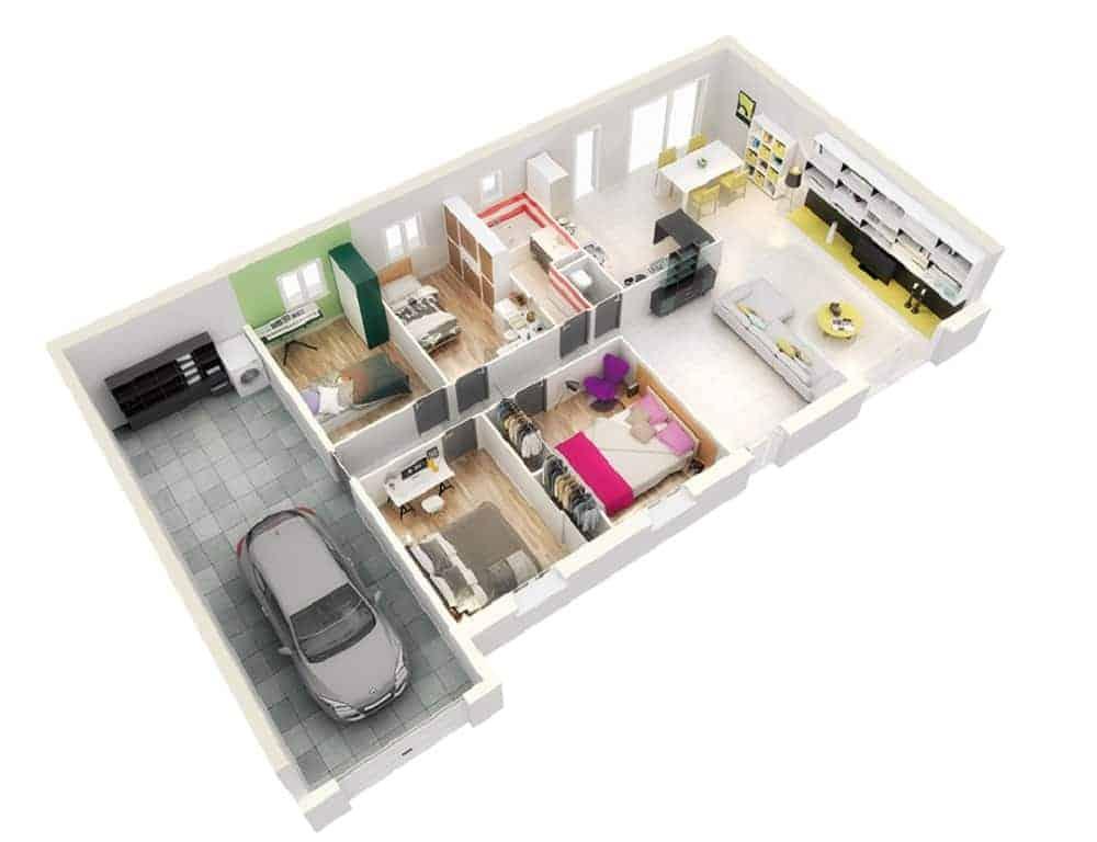 Mẫu thiết kế nhà 1 tầng và 3 phòng ngủ đẹp