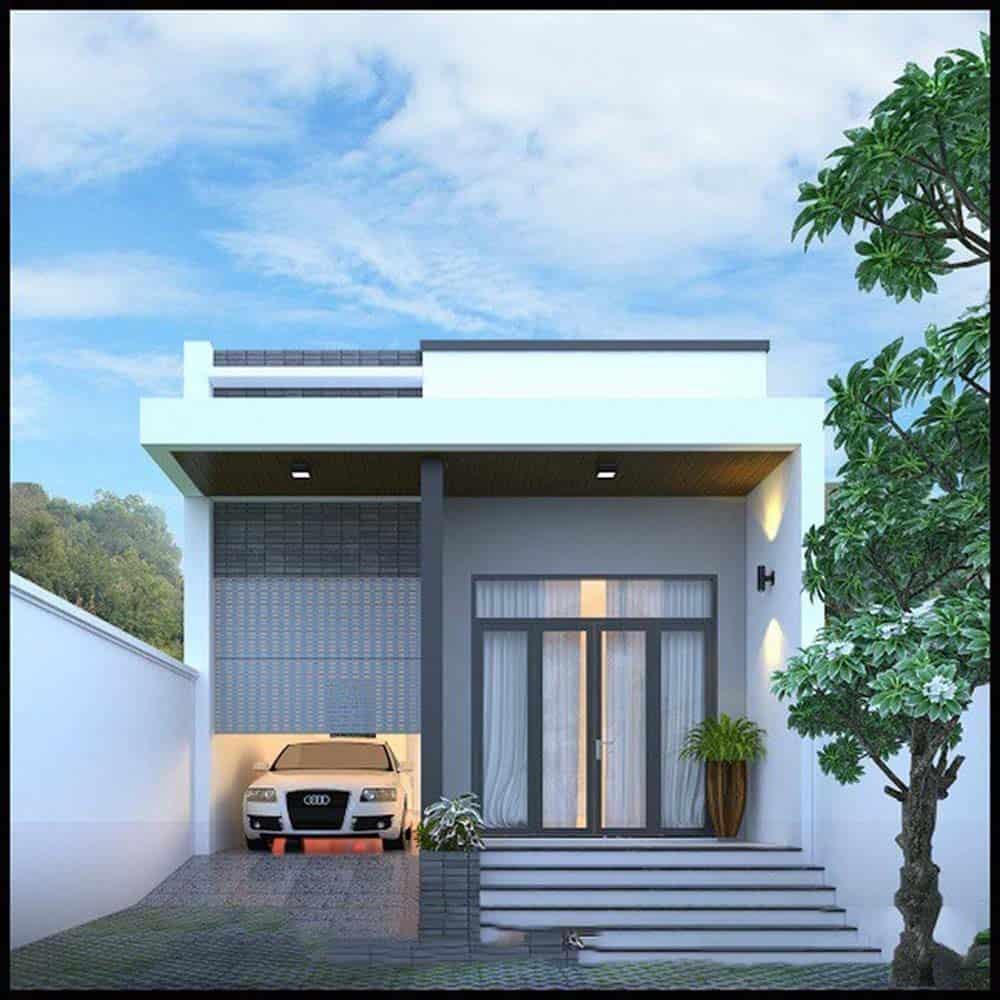 Thiết kế nhà ống 1 tầng mái bằng phong cách hiện đại