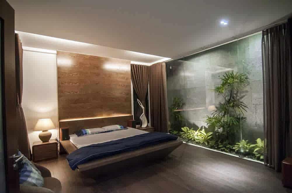 Phòng ngủ đẹp với vườn cây xanh tươi