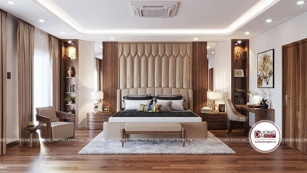 Phòng ngủ xa hoa với nội thất bọc da cao cấp