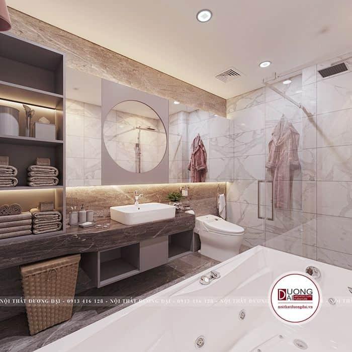 Phòng tắm với chất liệu gỗ Picomat chống nước cao cấp.