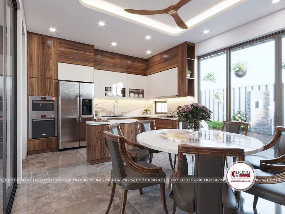 Phòng bếp được thiết kế với phong cách hiện đại từ gỗ MDF phủ Laminate