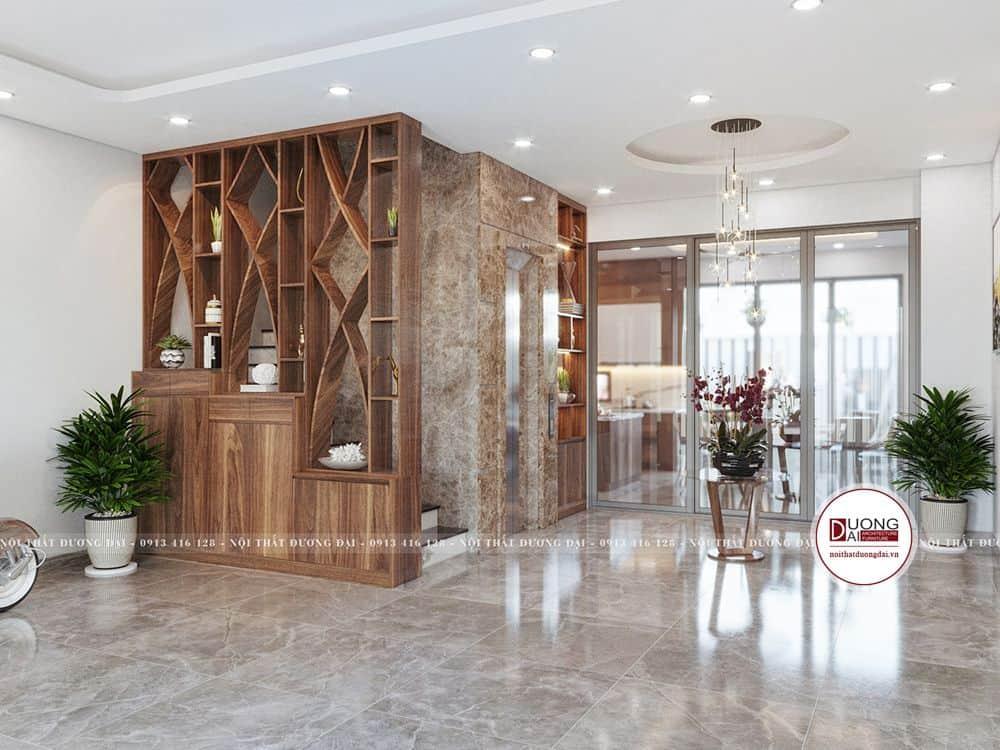 Thiết kế 3D không gian tầng trệt với gara, sảnh chờ và phòng bếp.