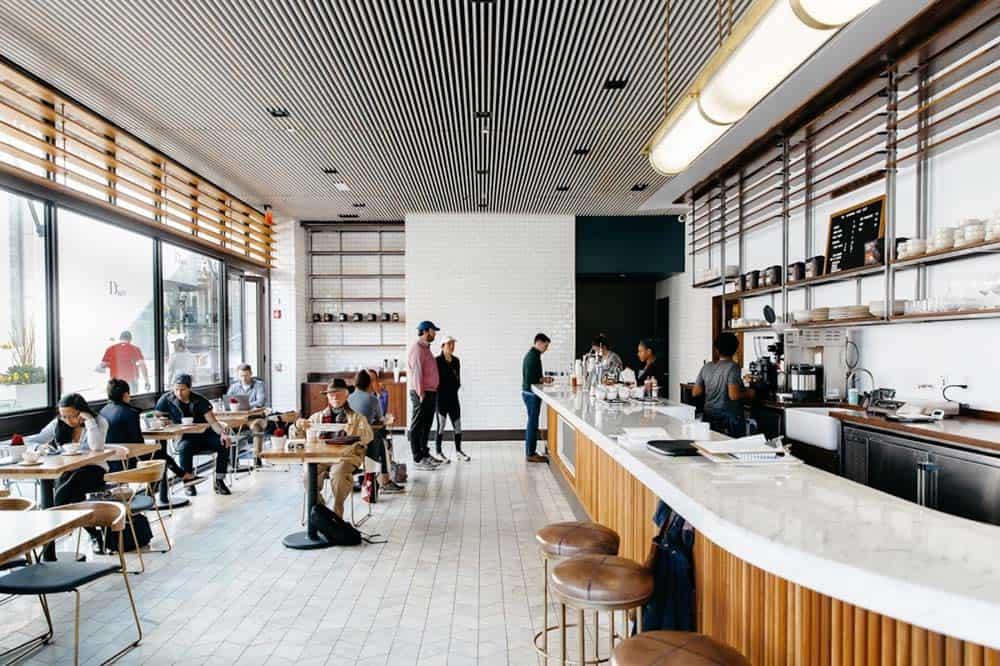 Thiết kế của quán cafe ở tầng 1 nhà ống mặt tiền 8m