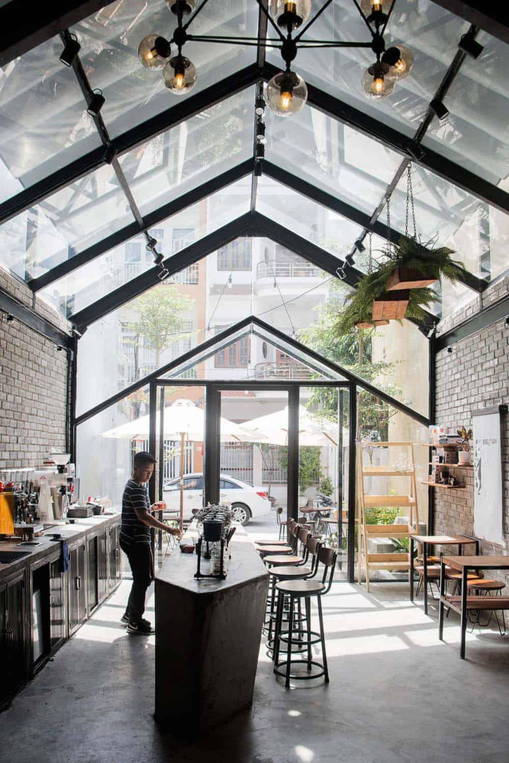 Thiết kế quán cafe 1 tầng nhà ống hiện đại