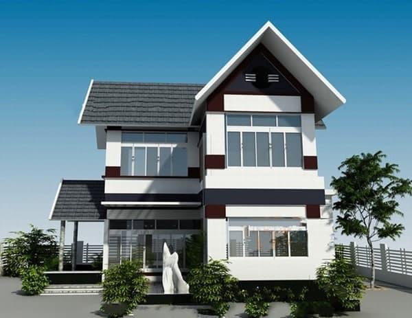 Ngôi nhà 2 tầng với mái chéo công năng và đẹp mắt