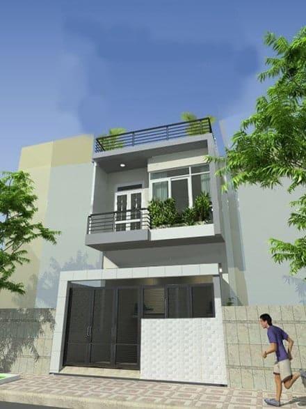 Nhà mái bằng 2 tầng rất được ưa chuộng tại nông thôn