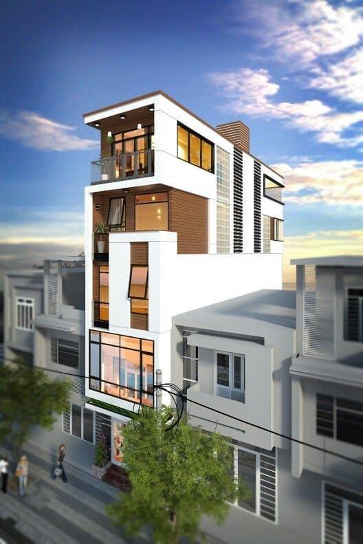 Kiến trúc nhà ống lệch tầng hiện đại 5 tầng