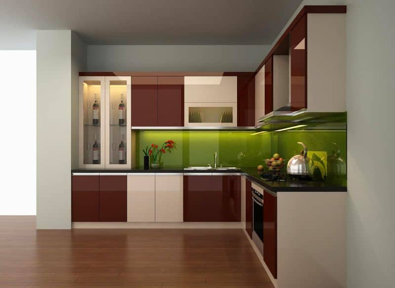 Tủ bếp gỗ công nghiệp phủ Acrylic