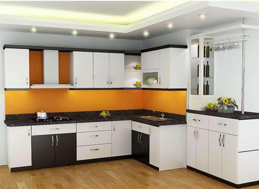 Tủ bếp HDF chống ẩm sơn bệt màu trắng đen cá tính