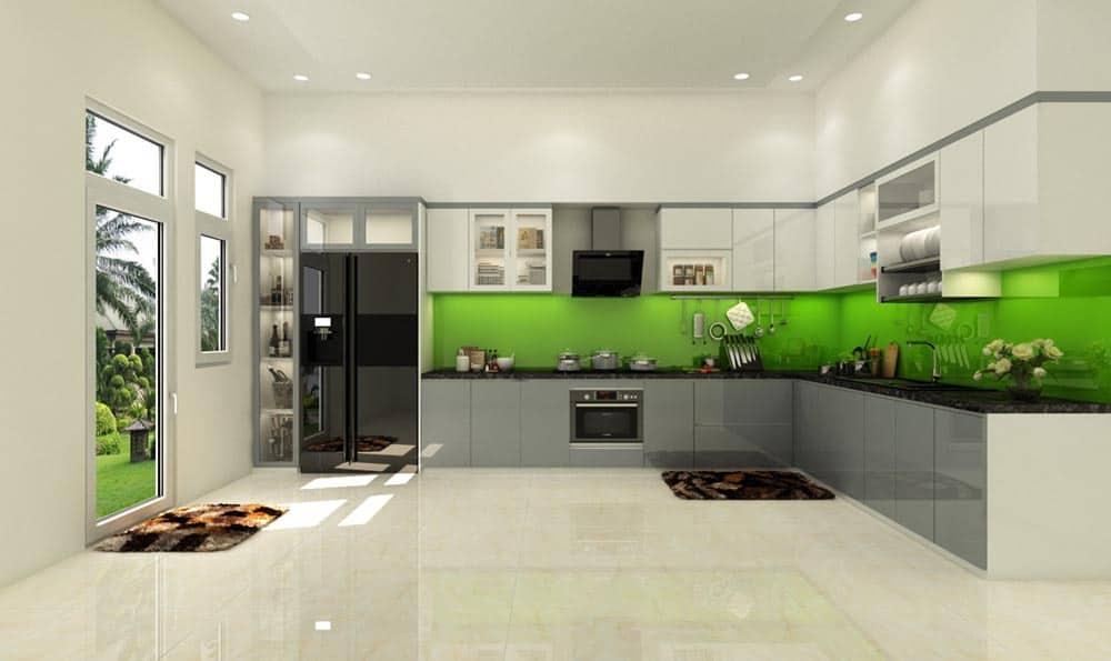 Tủ bếp chữ L màu trắng - ghi đầy sang trọng và đẳng cấp