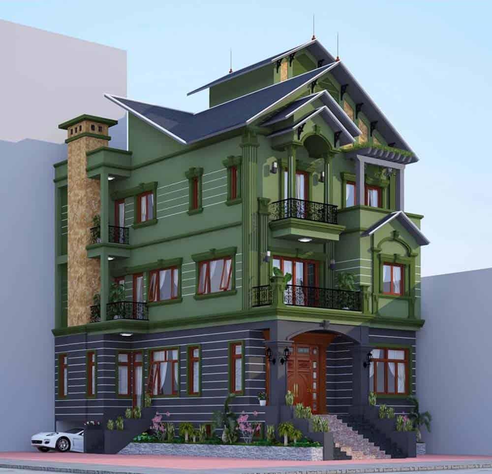 Thiết kế nhà có 2 mặt tiền siêu đẹp