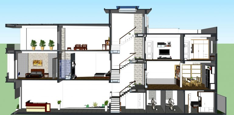 Nhà lệch tầng là mẫu nhà mà mặt sàn của nó nằm ở từng phần