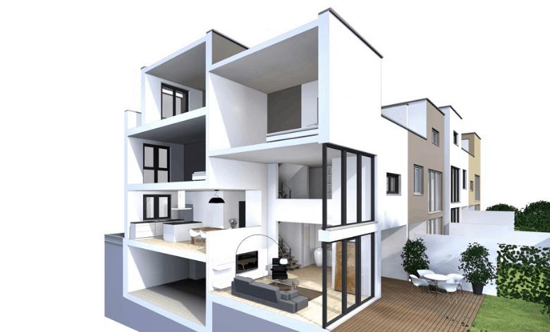 Gợi ý thiết kế nhà lệch tầng tại các thành phố hiện đại