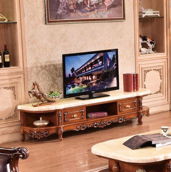 tủ tivi phong cách tân cổ điển gỗ tự nhiên