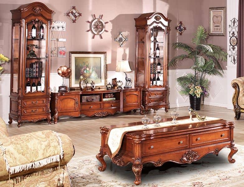 Tủ tivi phong cách tân cổ điển gỗ cao cấp