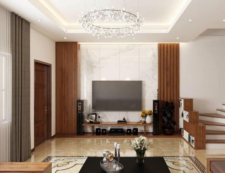 Màu gỗ giúp không gian ấm áp tạo sự gần gũi cho các thành viên trong gia đình.