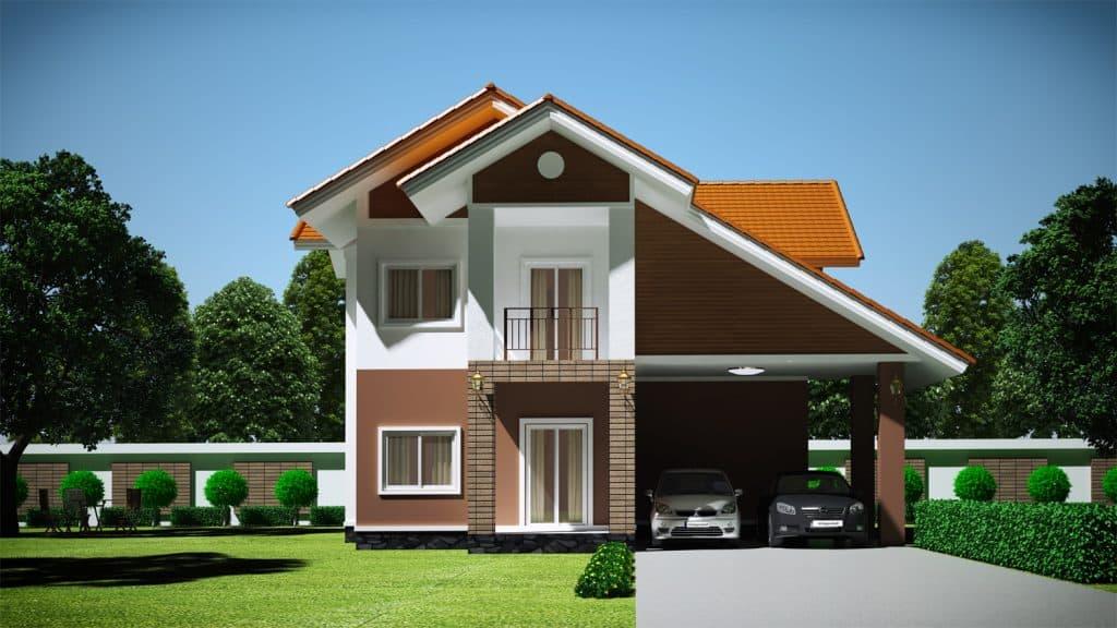 Nhà 2 tầng kết hợp gara ô tô tiện lợi, rộng rãi