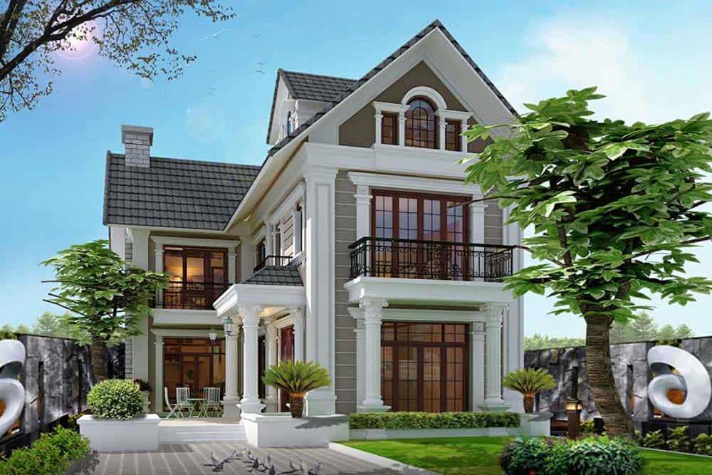 Mẫu nhà có sân vườn chữ L siêu ấn tượng với 2 mặt tiền hướng phố