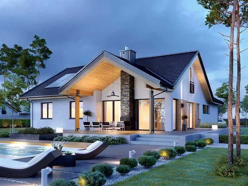 Ngôi nhà cấp 4 kiểu dáng giả biệt thự thì kiến trúc có thể thiết kế thành 2 mặt tiền