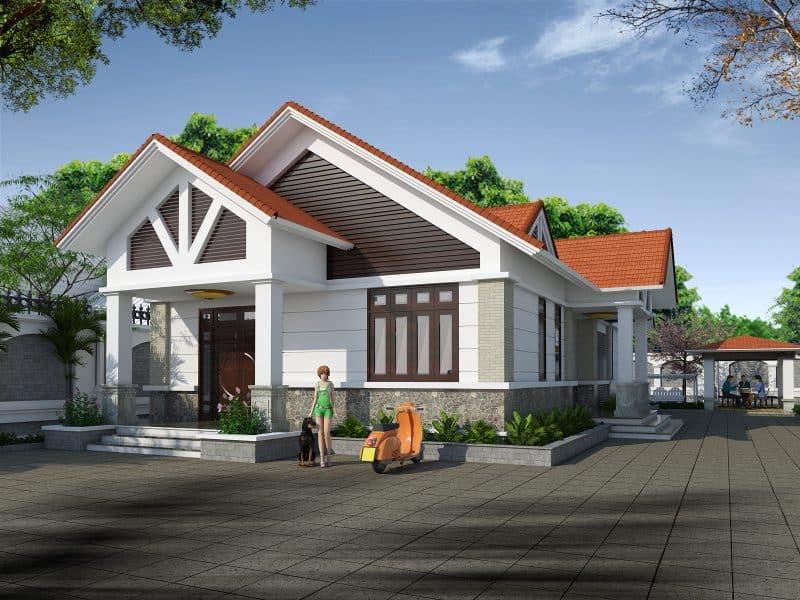 Thiết kế nhà có gác lửng rộng rãi với mái thái màu đỏ ấn tượng