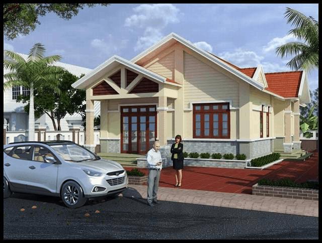 Ngôi nhà có thiết kế đơn giản sử dụng tone màu trầm