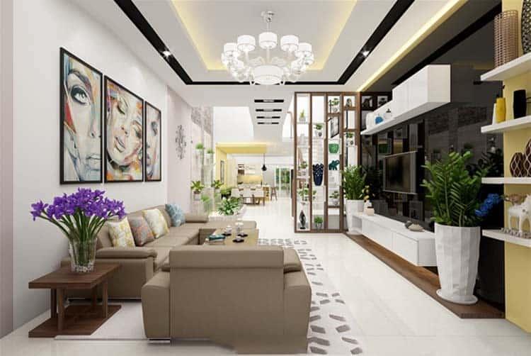 Phòng khách được thiết kế với ý tưởng không gian xanh.
