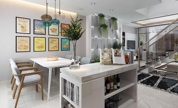 Khu vực phòng bếp ăn được kết nối mở với phòng khách tạo ra sự thông thoáng.