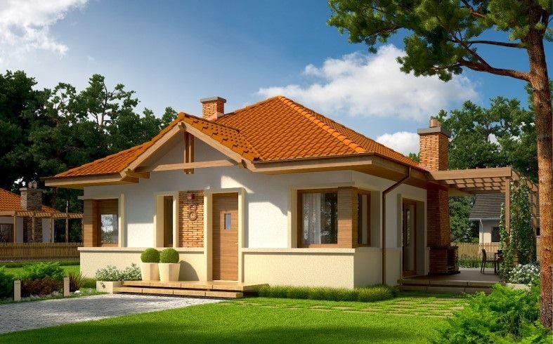 Ngôi nhà với mẫu thiết kế đơn giản, mái nhà giật cấp nhẹ