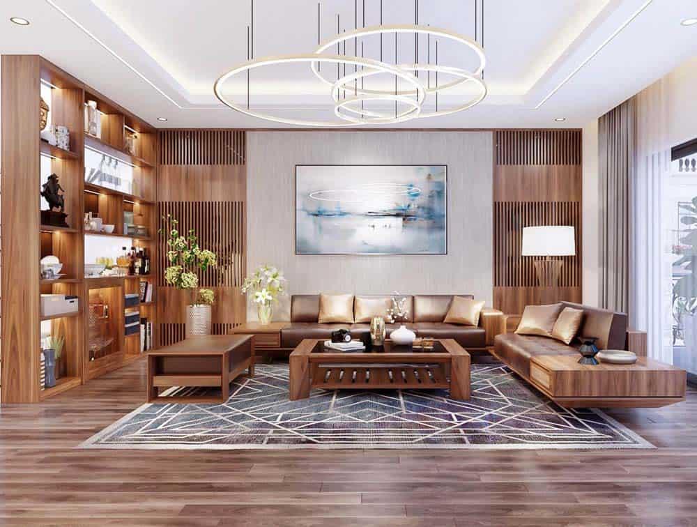 Phòng khách đẹp lộng lẫy theo phong cách hiện đại