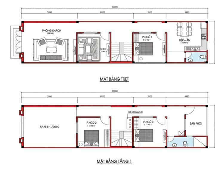Nhà ống 2 tầng kết hợp giếng trời mái Thái