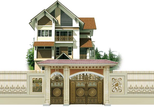 Ngôi nhà 3 tầng chữ L lấy tỉ lệ vàng về hình khối